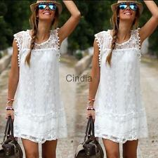 New Sexy Women Summer Cocktail Party Mini White Dress Fashionable