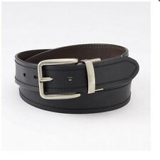 LEVIS GENUINE LEATHER BELT BLACK BROWN REVERSIBLE Silver tone BUCKLE MEN