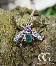 Victorian Inspired 9ct Rose Gold Fly Pendant Necklace Amethyst Diamond & Emerald