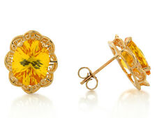 10k / 14k Yellow Gold Simulated Citrine Filigree November Birthstone Earrings