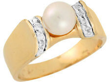 10k / 14k Two Tone Gold Freshwater Cultured Pearl White CZ Graceful Ladies Ring