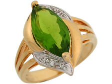 10k / 14k Two Tone Gold Simulated Peridot White CZ Sophisticated Ladies Ring