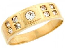 10k / 14k Yellow Gold Men's Round CZ Solitaire and Side Stones Wedding Band