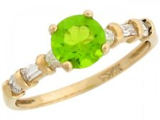 10k / 14k Real Gold White CZ Accent Simulated Peridot August Birthstone Ring