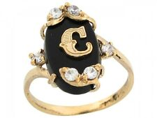 10k / 14k Real Yellow Gold Onyx Letter C Initial with CZ Accents Ring