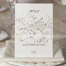 Gorgeous Embossed Floral Design Wedding Invitations Cards And Envelopes, Seals