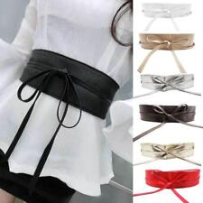 Womens PU Leather Wide Self Tie Wrap Around Obi Waist Band Cinch Boho Dress Belt