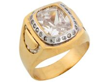 10k / 14k Two Tone Solid Gold 10ct White CZ Stylish Fancy Mens Ring