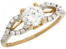 10k / 14k Two Toned Real Gold White CZ Elegant Design Engagement Womens Ring