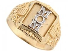 10k / 14k Two-Tone Yellow and White Gold Beautiful Filigree Band Mom Ring