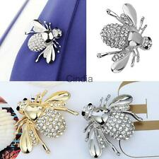 Crystal Bee Brooch Animal Silver/Gold Plated Statement Pin Breastpin Bouquet