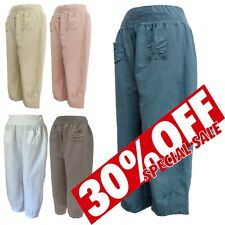 WOMENS ITALIAN LAGENLOOK HAREM BAGGY LINEN 2 POCKETS TROUSERS S M L XL 2XL 3XL