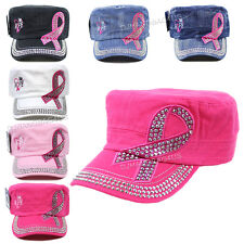 Pink Ribbon Rhinestone Heart Hope Cadet Hat Breast Cancer Awareness Castro Cap