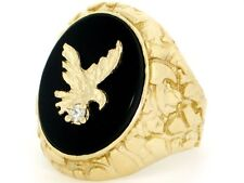 10k / 14k Solid Gold Nugget Eagle Onyx Exra Large Mens Ring