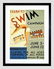 HEALTH LEARN TO SWIM USA VINTAGE ADVERT RETRO WALL FRAMED ART PRINT B12X1195