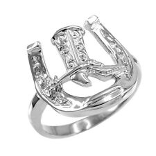 Polished Sterling Silver Horseshoe with Cowboy Boot Men's Ring