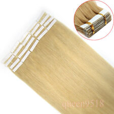 """16-24""""Seamless Skin Tape In Weft Remy Human Hair Extension Straight #24 Blonde"""