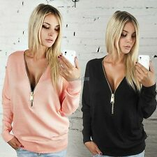 HOT Women Sexy Jumpers Pullover Tops Blouse Ladies V-Neck Long Sleeve Zip Hoodie