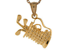 10k / 14k Solid Yellow Gold Small Detailed Golf Club Bag Charm Pendant