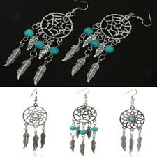 Turquoise Blue Bead Dream Catcher Tibetan Silver Feather Dangle Drop Earrings