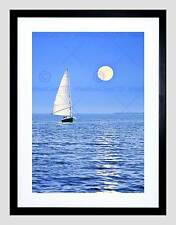 PHOTO SEASCAPE BOAT YACHT SEA OCEAN FULL MOON BLACK FRAMED ART PRINT B12X13134