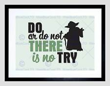 DO OR NOT NO TRY YODA QUOTE TYPOGRAPHY BLACK FRAMED ART PRINT PICTURE B12X13893