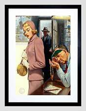 PAINTINGS PORTRAIT PAWN SHOP SCENE JEWELLERY BLACK FRAMED ART PRINT B12X9904