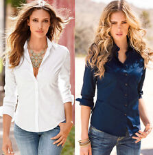 Cotton Casual Long Slim Top Blouse Fashion Blouse Shirt Fit NEW Womens Sleeve