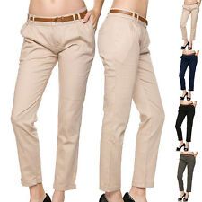 Women Career Mid Rise Faux Leather Belted Cotton Slim Skinny Chino Trouser Pants