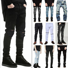 Fashion Mens Designed Straight Slim Fit Biker Jeans Pants Denim Trousers Skinny