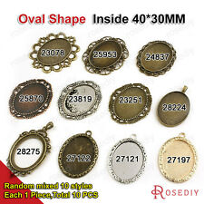 Oval Shape inside:40*30MM Trays Bezels Base Alloy Cameo settings Pendants 23078