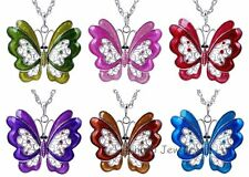 Wedding Butterfly Crystal Rhinestone Pendant Sweater Long Chain Necklace Jewelry