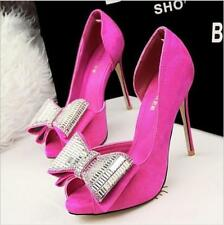 Rhinestone Studded Bowknot Women High Heels Platform Peep Toe Stiletto Pumps L73