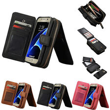 Leather Zipper Wallet Case Card Cash Holder For Samsung Galaxy S7 /S7 Edge