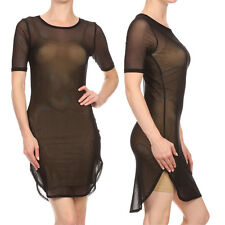 Women Sexy Sheer Mesh Short Sleeve Bodycon Slim Party Mini Shirt Dress Clubwear