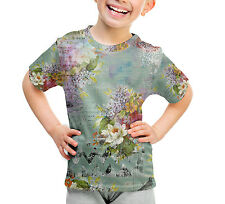 Grunged Florals on Green Kids Cotton Blend T-Shirt Unisex Sublimation All-Over-P