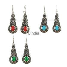 Vintage BOHO Gemstone Dangle Drop Rhinestone Dangle Ear Stud Earrings Gift