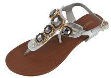 City Classified Seaside Silver Gem Stone T-Strap Ankle Strap Flat Sandals