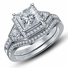 3.40Ct White Princess Cut 925 Sterling Silver Engagement Wedding Bridal Ring Set