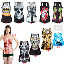 Womens Graphic Printed Tees Blouses  Tops Vest Gothic Tank Hero Batman Costume