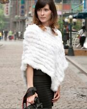 100% Real Knitted Rabbit Fur Poncho Cape Stole Scarf Shawl Outwear Vintage Women