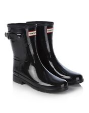 HUNTER ORIGINAL SHORT REFINED GLOSS WELLINGTON WOMEN'S BLACK BOOTS