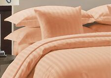 500TC Hotel Peach Solid & Striped 100% Egyptian Cotton All UK Bedding Set's *