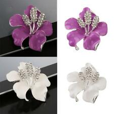 Vintage Enamel Flower Brooch Rhinestone Crystal Flower Wedding Bridal Brooch Pin