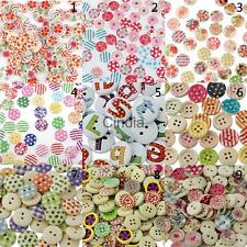 100pcs Mixed Color Drawing Round Wood Buttons for Sewing DIY Craft 15mm