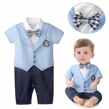 Baby Boy Wedding Christening Blue Formal Tuxedo Suit Outfit Romper Clothes 3-24M