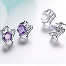 Elegant Fashion Women Lady Girls 925 Sterling Silver Crystal Ear Stud Earrings U