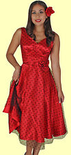 Stop Staring! - Red Satin Grace Swing Dress.  New With Several Sizes.