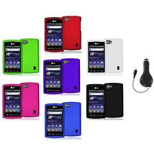 Color Hard Snap-On Skin Case Cover+RET Charger for LG Optimus M+ Plus MS695