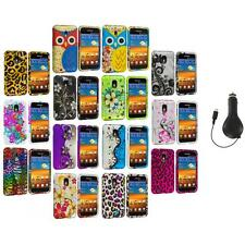 Design Hard Rubberized Case Cover+RET Charger for Samsung Sprint Galaxy S2 S II